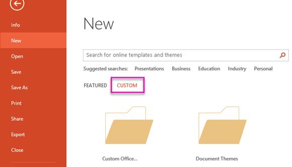 در صفحه File New، سفارشی را برای دسترسی به الگو ایجاد کنید.