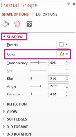 دکمه Color را روی برگه Shadow در کادر Format Shape کلیک کنید