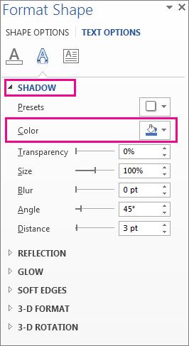 شکل فرم شکل با Shadow نمایش دکمه Color را افزایش داد