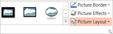 دکمه چیدمان تصویر را در برگه Format نشان می دهد