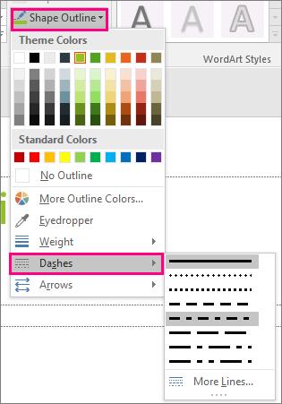 سبک های مختلف خط را در Office نشان می دهد