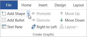 دکمه Add Shape را در گروه Create Graphic ایجاد کنید