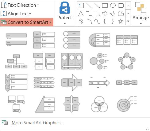 گزینه های موجود در گالری تبدیل به SmartArt را نشان می دهد