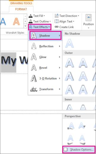Tex Effects سایه Shadow Optionscommands