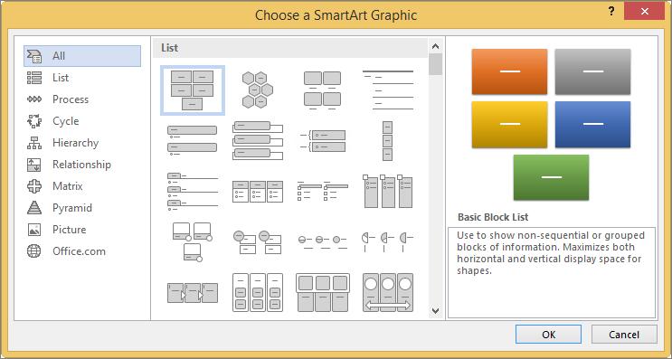 انتخاب در کادر محاوره ای SmartArt Graphic را انتخاب کنید