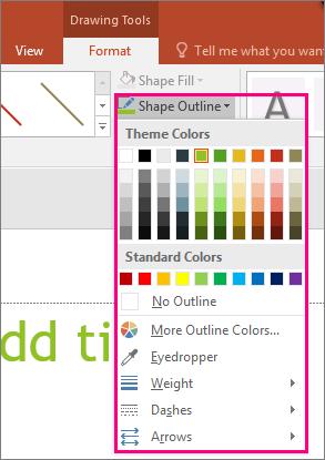 گزینه های خط رنگ در Office را نشان می دهد