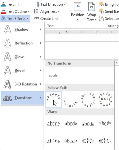 انتخاب یک اثر متنی تبدیل منحنی