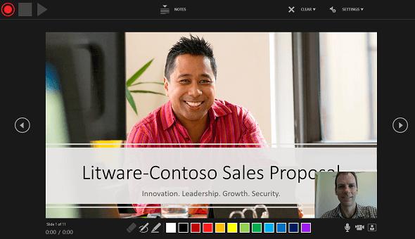 پنجره ضبط ارائه شده در PowerPoint 2016، با پیش نمایش پنجره روایت تصویر روشن است.