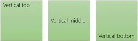 سه گزینه تنظیم متن عمودی: بالا، متوسط و پایین
