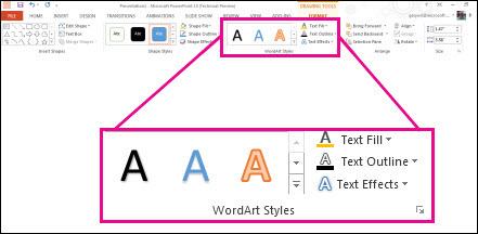 سبک WordArt دستورات روی نوار را می دهد