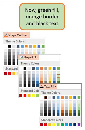 شکل با رنگ جدید پر، متن و مرز