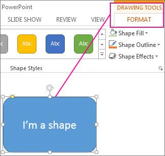 هنگامی که یک شکل انتخاب می شود، ابزار نقشه کشی ظاهر می شود