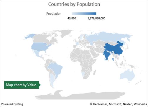 اکسل MapChart با داده های ارزش
