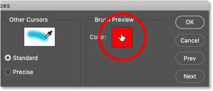 نحوه انتخاب یک رنگ جدید پیش نمایش برس HUD در فتوشاپ