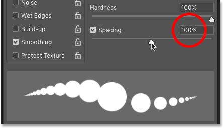 افزایش مقدار Spacing برای ابزار Brush در فتوشاپ