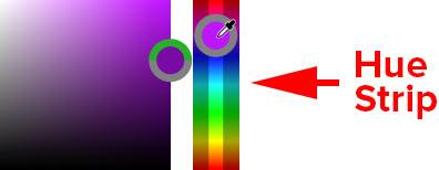 انتخاب رنگ برای رنگ قلم مو از نوار Hue در انتخابگر رنگ HUD در فتوشاپ