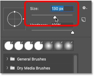 تغییر اندازه قلم مو از Brush Preset Picker در فتوشاپ