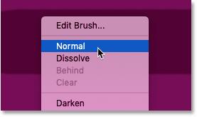 تنظیم حالت ترکیب ابزار Brush به حالت عادی در فتوشاپ بازگردد
