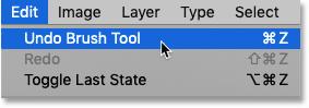انتخاب فرمان Undo Brush Tool در فتوشاپ