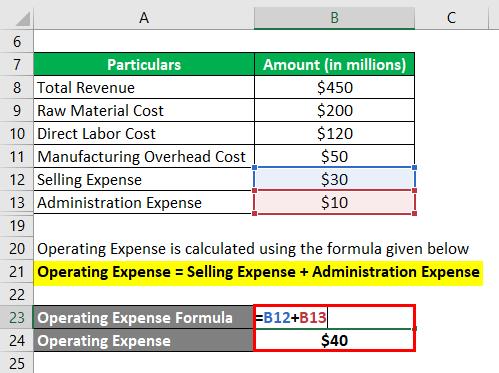 محاسبه هزینه عملیاتی -1.3