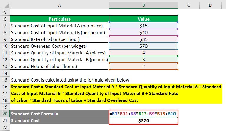 فرمول هزینه استاندارد - 2.2