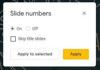 پنجره شماره های اسلاید در اسلایدهای Google